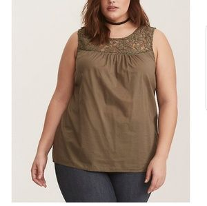 Torrid olive green lace inset tank top size 2